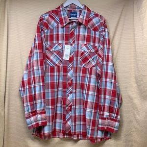 NWT Wrangler Western Shirts Pearl Snap Red & Blue Plaid Long Sleeve Men's 3XLT